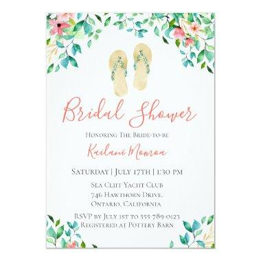 Botanical Floral Flip Flops Bridal Shower Invitations
