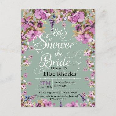 Botanical violet floral frame minty Bridal shower Invitation PostInvitations