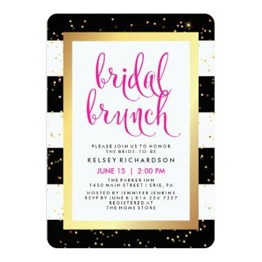 Bridal Brunch | Black White Gold and Pink Shower Invitations