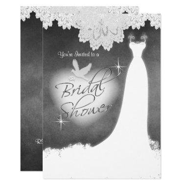 Bridal Gown on Chalkboard with Lace & White Dove