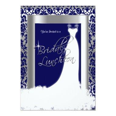 Bridal Luncheon in Navy Blue Damask & Silver