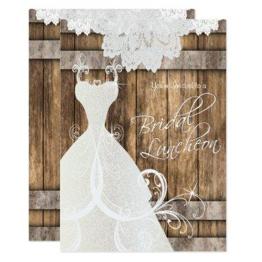 Bridal Luncheon in Rustic Wood and Lace Invitations