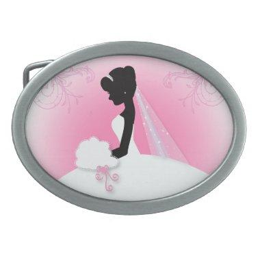 Bridal Mrs Right Pink bride silhouette Belt Buckle