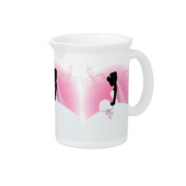 Bridal Mrs Right Pink bride silhouette Drink Pitcher