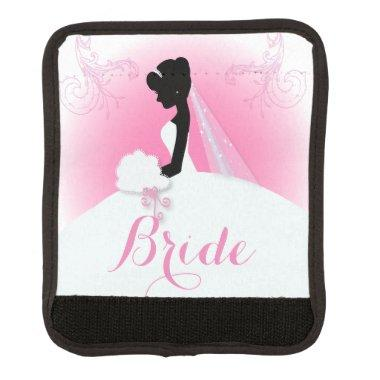 Bridal Mrs Right Pink bride silhouette Luggage Handle Wrap