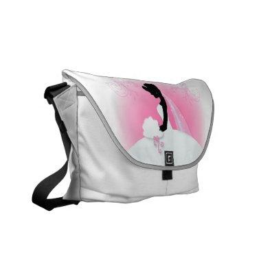Bridal Mrs Right Pink bride silhouette Messenger Bag