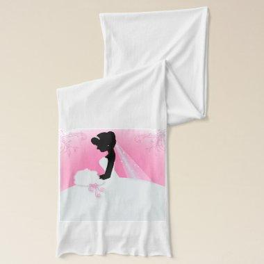 Bridal Mrs Right Pink bride silhouette Scarf