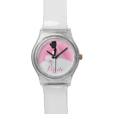 Bridal Mrs Right Pink bride silhouette Wristwatch