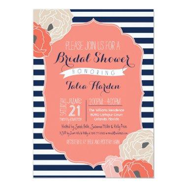 Bridal or Baby Shower Invitaion, Bold Stripe Coral Invitations