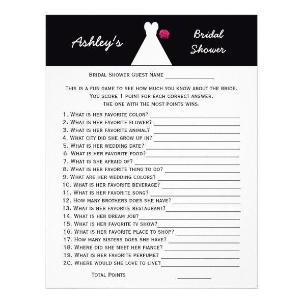 Bridal or Wedding Shower Party Game -- Bridal Gown Letterhead