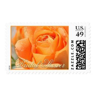 Bridal Shower Autumn Orange Rose Postage Stamp
