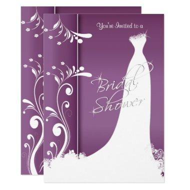 Bridal Shower - Beautiful Plum Purple Invitations