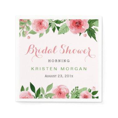 Beautiful Watercolor Rose Flowers Paper Napkin