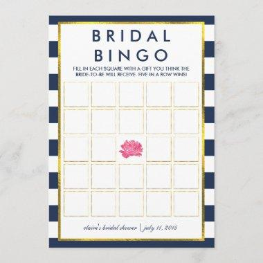 Bridal Shower Bingo Game Invitations | Navy Stripe Peony
