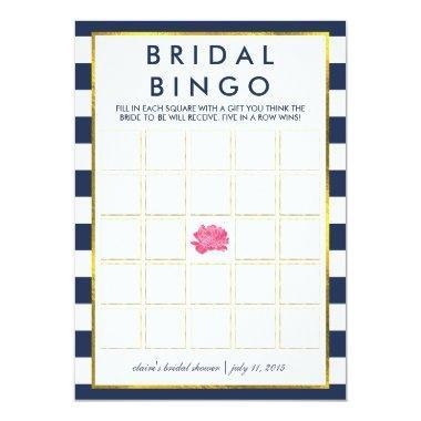 Bingo Game  | Navy Stripe Peony