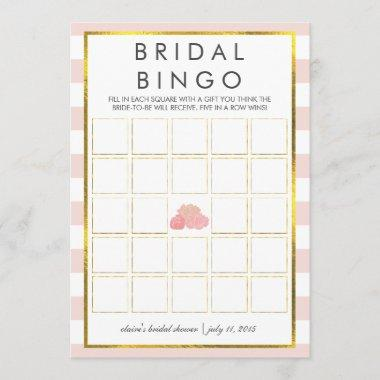 Bridal Shower Bingo Game Invitations | Pink Stripe Peony