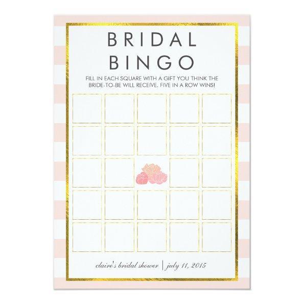 Bingo Game  | Pink Stripe Peony