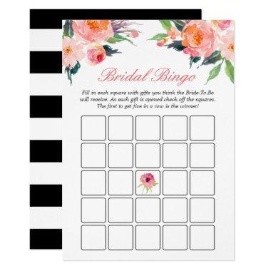 Bingo Game Modern Watercolor Floral