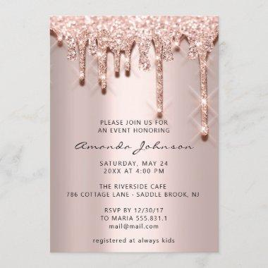 Bridal Shower Birthday 16th Rose 3D Drips Glitter Invitations