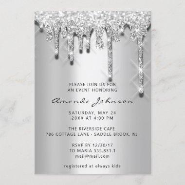 Bridal Shower Birthday 16th Silver Gray 3D Drips Invitations