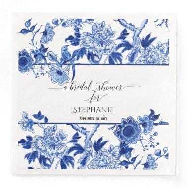 Bridal Shower Blue Chinoiserie Floral Watercolor Paper Dinner Napkins