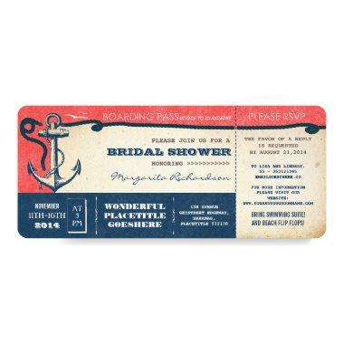 bridal shower boarding pass-tickets with RSVP Invitations