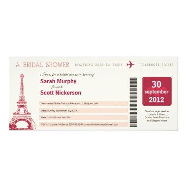 Bridal Shower Boarding Pass to Paris France Invitations