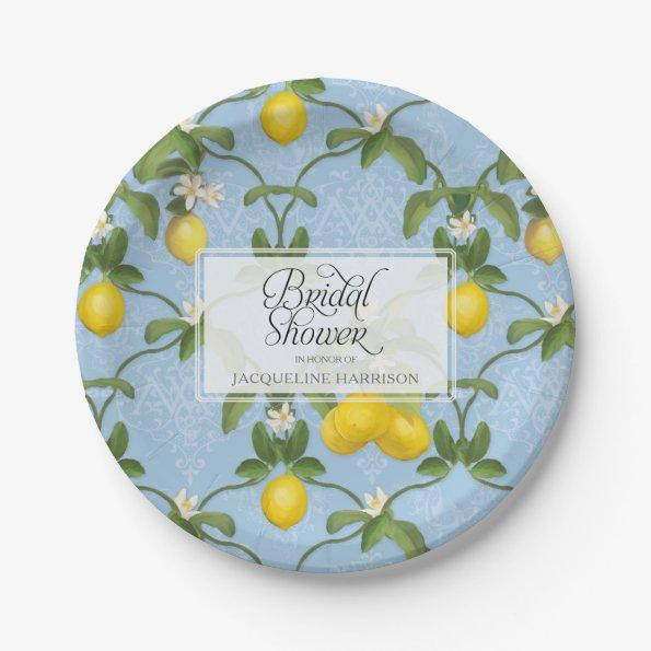 Bridal Shower BOHO Blue Lemon Leaf Flower Citrus Paper Plate