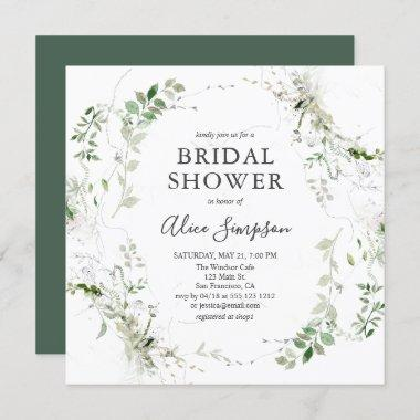 Bridal Shower Botanical Greenery Modern Invitations