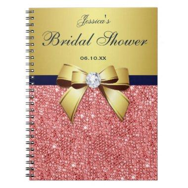 Bow Guestbook Gold Coral Sequins Notebook