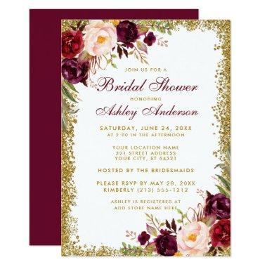 Burgundy Floral Gold Glitter Invite