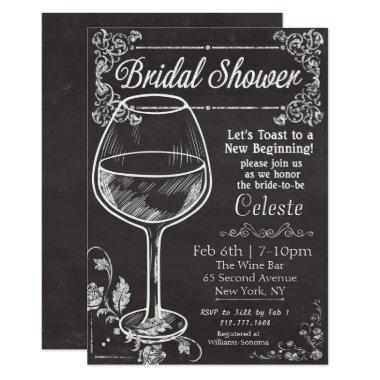Bridal Shower Chalk Chalkboard Wine Invitations