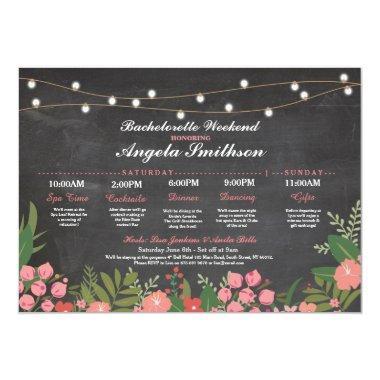 Bridal Shower Chalk Coral Itinerary Bachelorette Invitations
