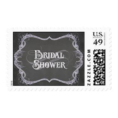 Bridal Shower - Chalkboard Typographic Leaf Swirl Postage