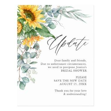 Bridal Shower Change of Plans Sunflower Eucalyptus PostInvitations