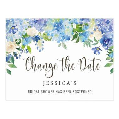 Bridal Shower Change the Date Blue Hydrangeas PostInvitations