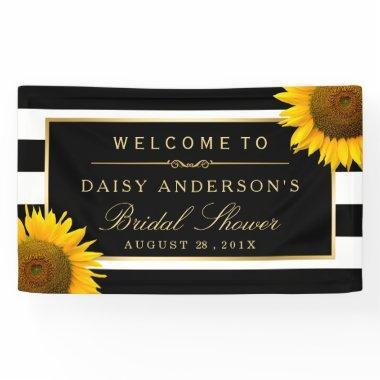 Classy Sunflower Black White Stripes Banner