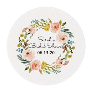 Bridal Shower Cupcake Topper Floral Edible Frosting Rounds