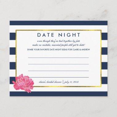 bridal shower date night invitations navy stripe peony