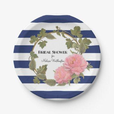 Decor Gold Wide Striped Peony Wreath Paper Plate