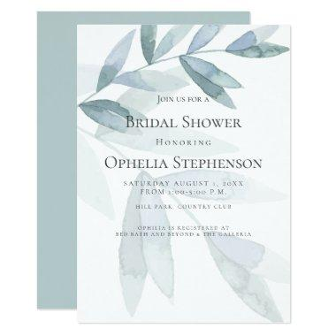 BRIDAL SHOWER | Dusty Blue Watercolor Eucalyptus Invitations