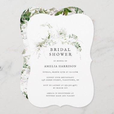 Bridal Shower Elegant Earthy Greenery Watercolor Invitations