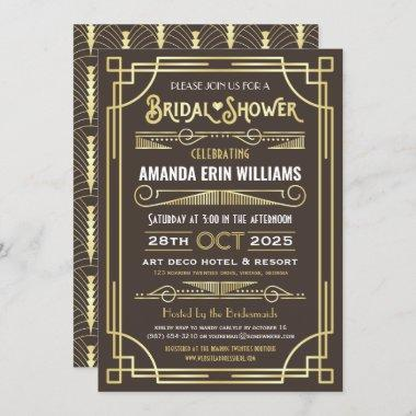 Bridal Shower Elegant Gold Chocolate Art Deco Invitations