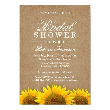 Elegant Rustic Sunflower Linen Kraft