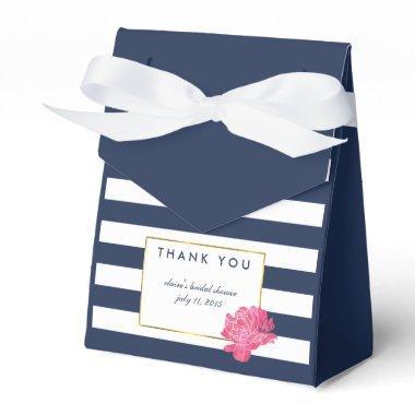 Bridal Shower Favor Boxes | Navy Stripe & Peony