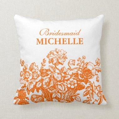 Favor Floral Basket Orange Throw Pillow