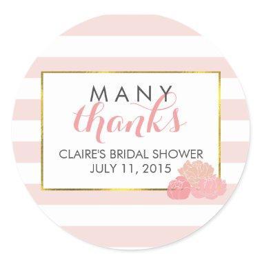 Favor Stickers | Pink Stripe & Peony