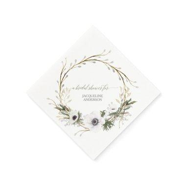 Bridal Shower Floral BOHO Wreath Anemone Rustic Paper Napkin