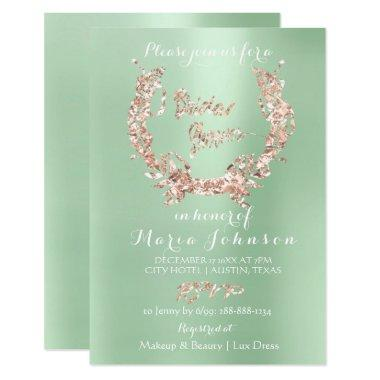 Bridal Shower Floral Wreath Rose Gold Mint Green Invitations