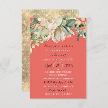 wedding package bridal shower invitations wedding invitations coral wedding invitations IN505 coral bridal shower invitations
